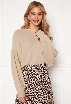 OBJECT Violette L/S Knit Pullover Sandshell Bubbleroom.no