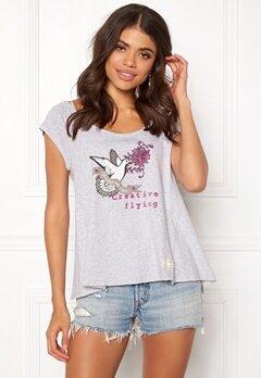 Odd Molly Print Love T-shirt Grey Melange Bubbleroom.no
