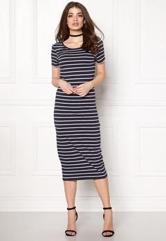 ONLY Abbie Stripe Calf Dress Night Sky Stripe Bubbleroom.no