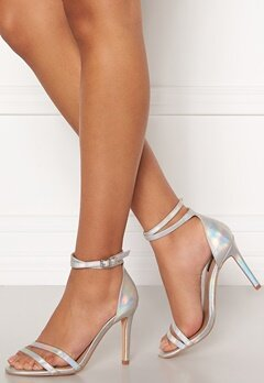 ONLY Aila Pu Iridescent Wrap Heeled Sandal Silver Bubbleroom.no