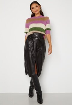 ONLY Alba Faux Leather Long Skirt Black bubbleroom.no