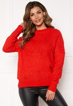 ONLY Anelia L/S Pullover Fiery Red Bubbleroom.no