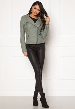 ONLY Ava Faux Leather Biker Chinois Green Bubbleroom.no