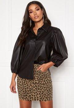 ONLY Bella L/S Shirt PU Black Bubbleroom.no