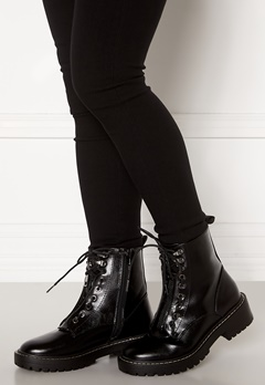 ONLY Bold PU Lace Up Boot Black Bubbleroom.no