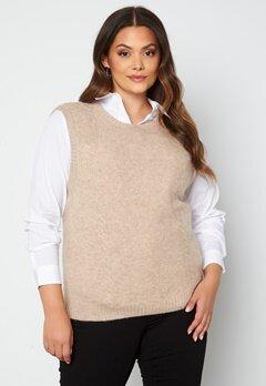 Only Carmakoma Abbi Life S/L Vest Knit Toasted Coconut Bubbleroom.no