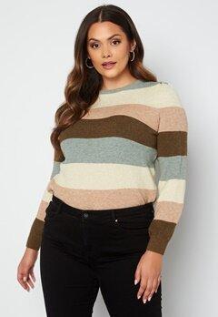 Only Carmakoma Karia L/S Stripe Pullover Knit Hedge Green Stripes Bubbleroom.no