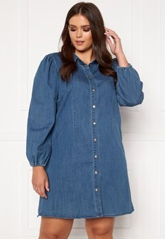 Only Carmakoma Ontan Life LS Knee Dress Dark Blue Denim Bubbleroom.no