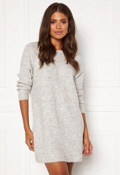 ONLY Carol L/S Dress Knit Light Grey Melange Bubbleroom.no