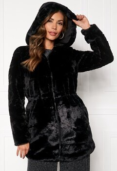 ONLY Chris Fur Hooded Coat Black Bubbleroom.no