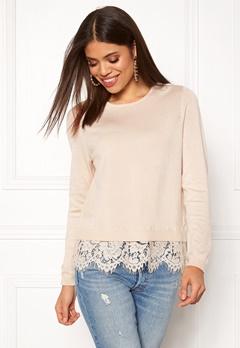 ONLY Cilla L/S Lace Pullover Pumice Stone Bubbleroom.no