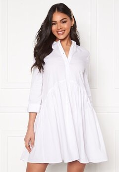 ONLY Ditte Fold Up 3/4 Shirt Dress White Bubbleroom.no