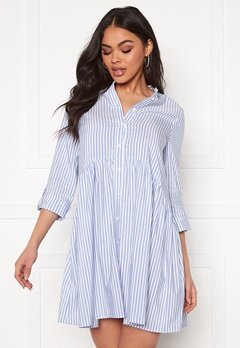 ONLY Ditte Fold Up 3/4 Stripe Dress Cloud Dancer/Stripes Bubbleroom.no