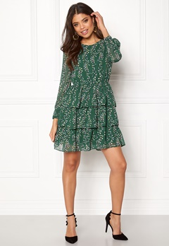 ONLY Ditte L/S Layred Dress Posy Green Bubbleroom.no