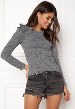 ONLY Elcos L/S Frill Top Dark Grey Melange Bubbleroom.no