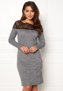 ONLY Elcos Mia L/S Lace Dress Dark Grey Melange Bubbleroom.no