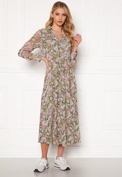 ONLY Ellie L/S Midi Dress Wvn Black, pastel flower Bubbleroom.no