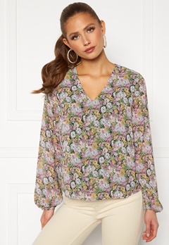 ONLY Ellie L/S V-Neck Top Wvn Black, Pastel Flower Bubbleroom.no