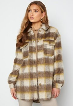 ONLY Epic L/S Check Shacket Oatmeal Checks Toast bubbleroom.no