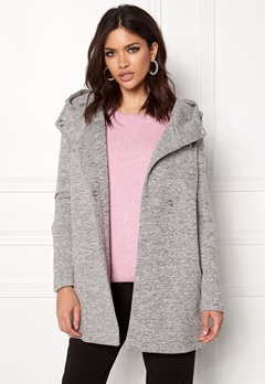 ONLY Fairy Mel Hooded Long Coat Light Grey Melange Bubbleroom.no