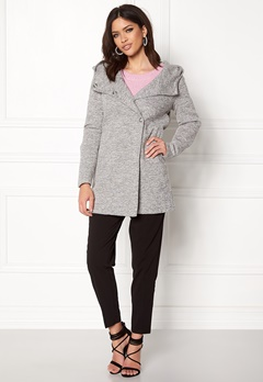 ONLY Fairy Mel Hooded Long Coat Light Grey Melange Bubbleroom.no
