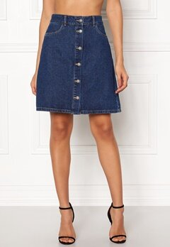 ONLY Farrah Reg Denim Skirt Dark Blue Denim Bubbleroom.no