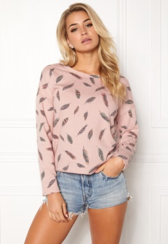 ONLY feather l/s aop o-neck rose smoke Bubbleroom.no