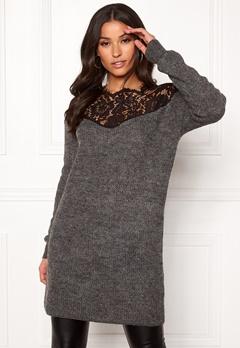 ONLY Hanna Ally L/S Lace Dress Dark Grey Melange Bubbleroom.no