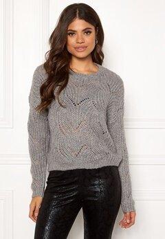 ONLY Havana L/S Pullover Knit Light Grey Melange Bubbleroom.no