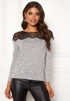 ONLY Idaho Lace l/s Pullover Light Grey Melange Bubbleroom.no