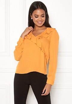 ONLY Intu L/S Frill Wrap Shirt Mineral Yellow Bubbleroom.no