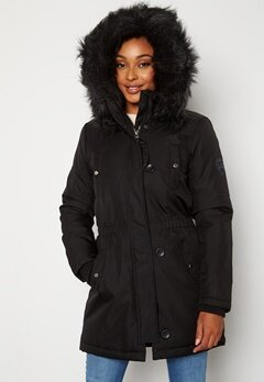 ONLY Iris Fur Winter Parka Black/Black fur Bubbleroom.no