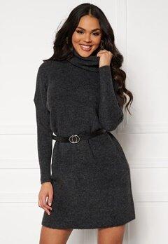ONLY Jana L/S Cowlnck Dress Dark Grey Melange Bubbleroom.no