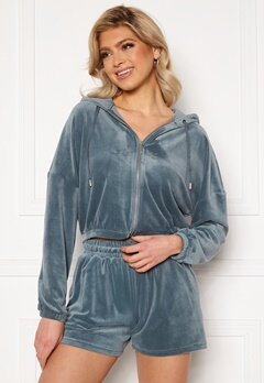 ONLY Laya L/S Zip Hood Blue Mirage<br>  Bubbleroom.no