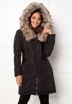 ONLY Linette Fur Hood Coat Black Bubbleroom.no