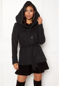 ONLY Lisa Hooded Wool Coat Black Bubbleroom.no
