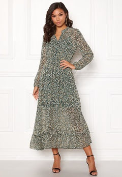 ONLY Lucia Ditzy Long Dress Dark Green Bubbleroom.no