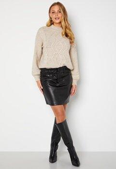 ONLY Maiya-Miri Faux Leahter Skirt Black bubbleroom.no