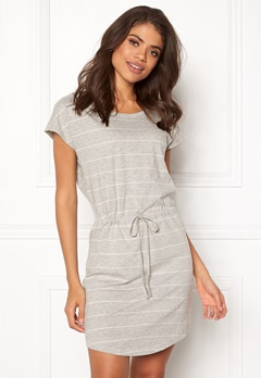 ONLY May S/S Dress Light grey stripes Bubbleroom.no