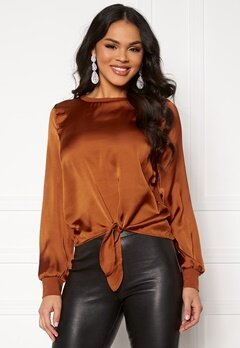 ONLY Mia L/S Knot Top Ginger Bread Bubbleroom.no