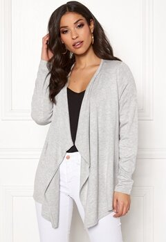 ONLY Mila L/S Draped Cardigan Light Grey Melange Bubbleroom.no