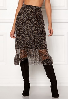 ONLY Moni Leo Mesh Skirt Black/Leo Bubbleroom.no