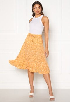 ONLY Nadja-Addiction Long AOP Skirt Golden Spice Bubbleroom.no