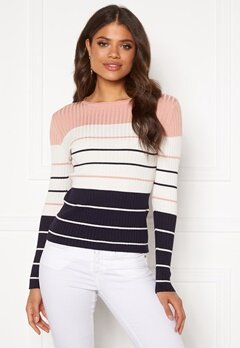 ONLY Natalia Stripe L/S Rib Pullover Rose Smoke Bubbleroom.no