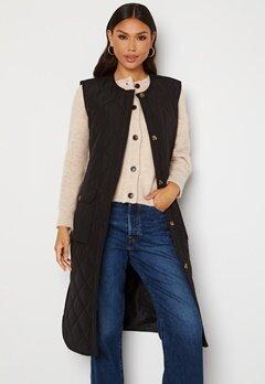 ONLY Nayra S/L Long Quilt Vest Black Bubbleroom.no