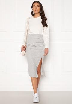 ONLY Nella Slit Skirt Light Grey Melange Bubbleroom.no