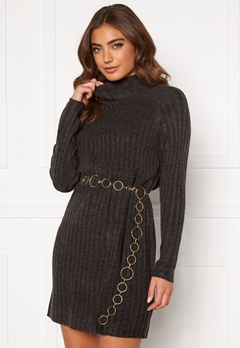 ONLY New Miramar L/S Dress Dark grey melange Bubbleroom.no