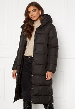 ONLY Newcammie Long Quilted Coat OTW Black Bubbleroom.no