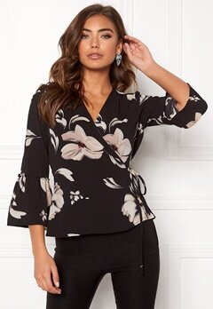 ONLY Nova Lux AOP F. Wrap Top Black Bubbleroom.no