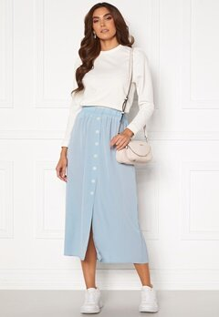ONLY Nova Lux Button Skirt Solid Blue Fog<br>  Bubbleroom.no